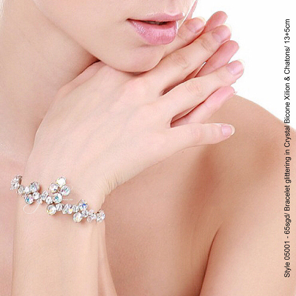 Style 05001 Bracelet with glittering Crystals Xilion Bicone Beads and Rhinestones from Swarovski®
