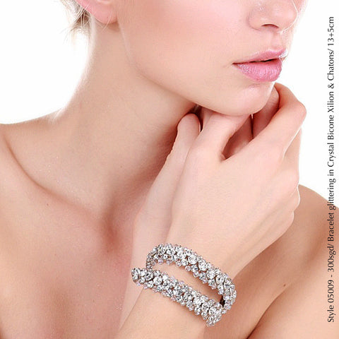 Style 05009 Bracelet with Crystal Xilion Bicone Beads and Crystal Rhinestones from Swarovski®