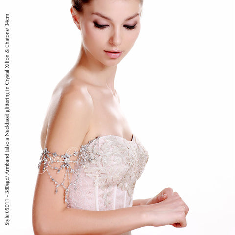 Style 05011 2-in-1 Bridal Accessory Armband and Necklace with Crystals from Swarovski®