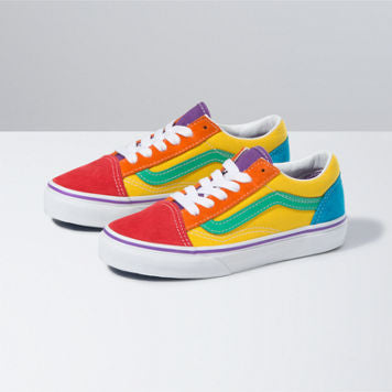 KIDS RAINBOW COLOR BLOCK OLD SKOOL (10.5-7)