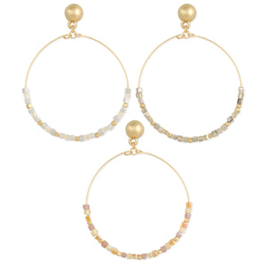 Zad Gentle Touch Gold Wire & Pastel Bead Post Earrings