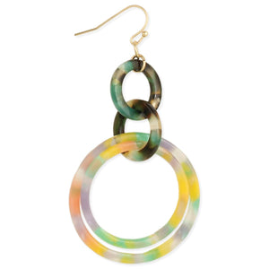 Zad Circle Around Marbled Resin Linked Round Earrings