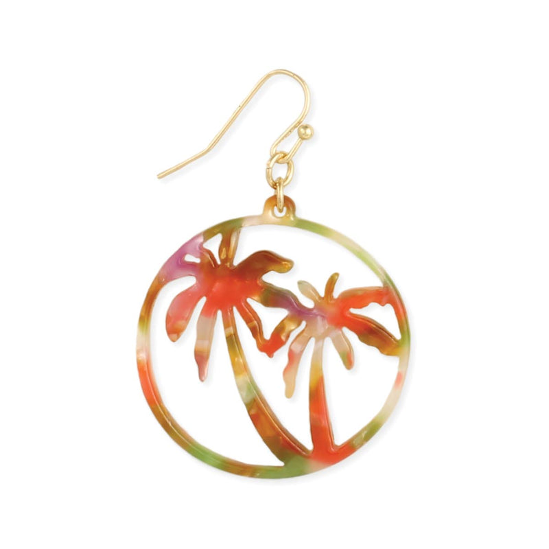 Zad Tropical Silhouette Marbled Resin Palm Tree Cutout Earrings