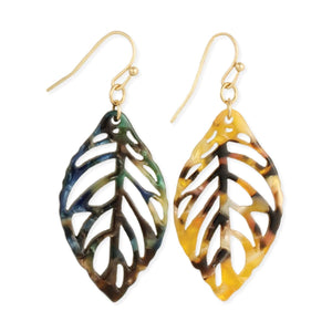 Zad Seasonal Changes Marbled Resin Leaf Earrings