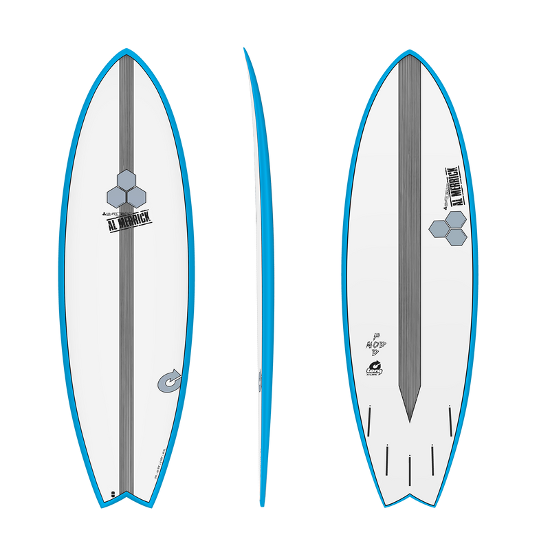 5'6 Channel Islands Pod Mod Blue Rails