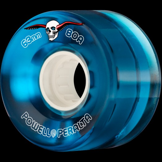 Powell Peralta Clear Cruiser Skateboard Wheels Blue 63mm 80A 4pk