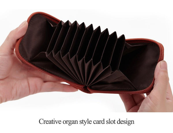 Genuine Leather Mini ID Credit Card Holder Accordian Style, , Card & ID Holders, Welfm Shop, Welfm Shop  - 9