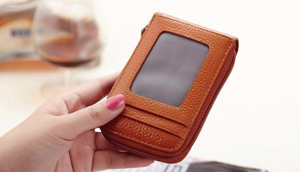 Genuine Leather Mini ID Credit Card Holder Accordian Style, , Card & ID Holders, Welfm Shop, Welfm Shop  - 10