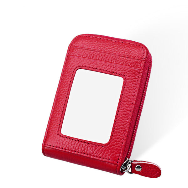 Genuine Leather Mini ID Credit Card Holder Accordian Style, Red, Card & ID Holders, Welfm Shop, Welfm Shop  - 6