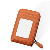 Genuine Leather Mini ID Credit Card Holder Accordian Style, Khaki, Card & ID Holders, Welfm Shop, Welfm Shop  - 4