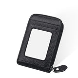 Genuine Leather Mini ID Credit Card Holder Accordian Style, Black, Card & ID Holders, Welfm Shop, Welfm Shop  - 2