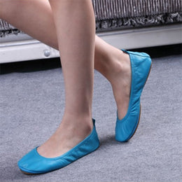 Genuine Leather Foldable Ballet Flats