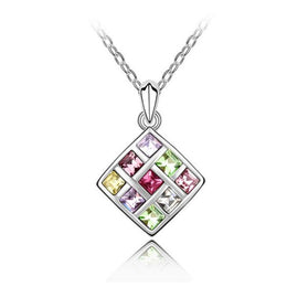 NEW 2016 Square Swarovski Crystal Necklace Pendant, Multicolor, Necklace, Welfm Shop, Welfm Shop  - 1