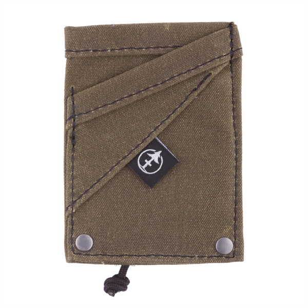 The Grip Wallet Green waxed canvas