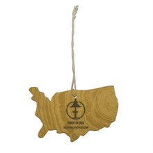 Load image into Gallery viewer, USA shaped air freshener with wood grain print and Treefort Lifestyles logo.