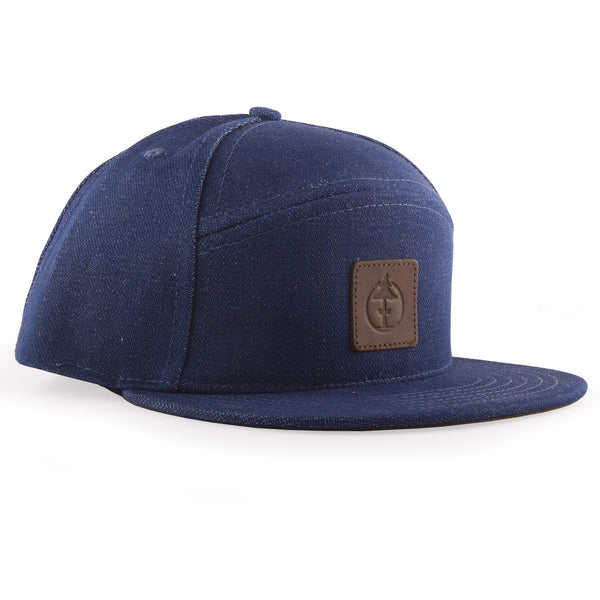 Treefort Lifestyles Canopy Cap in denim with leather logo, made in the USA