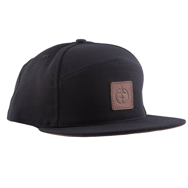 Treefort Lifestyles Canopy Cap in black with leather logo, made in the USA