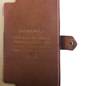 Handcrafted leather passbook detail 5