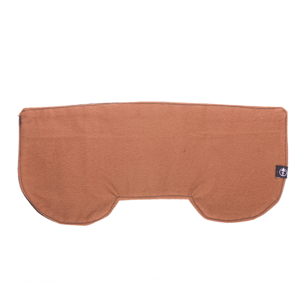 The inside of the Storm Flap, a flannel lined canvas universal ear flaps inserts made by Treefort Lifestyles lying flat.