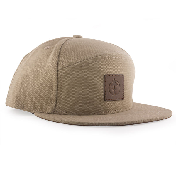 Treefort Lifestyles Canopy Cap in tan canvas with leather logo, made in the USA