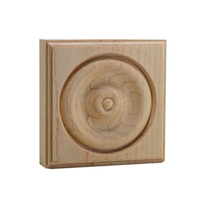 4 Inch Casing Corner Rosette Block EWAP40 Maple