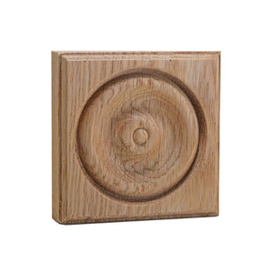 4 Inch Casing Corner Rosette Block EWAP40 Red Oak
