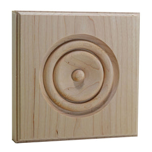 5-1/2 Inch Hardwood Casing Corner Rosette Block EWAP90 Maple