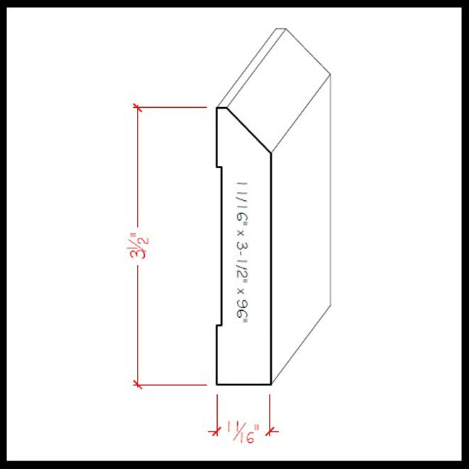 Beveled Edge Baseboard Trim EWBB14 Line Drawing