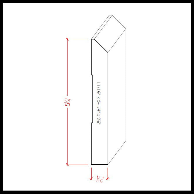Beveled Edge Baseboard Trim EWBB15 Line Drawing