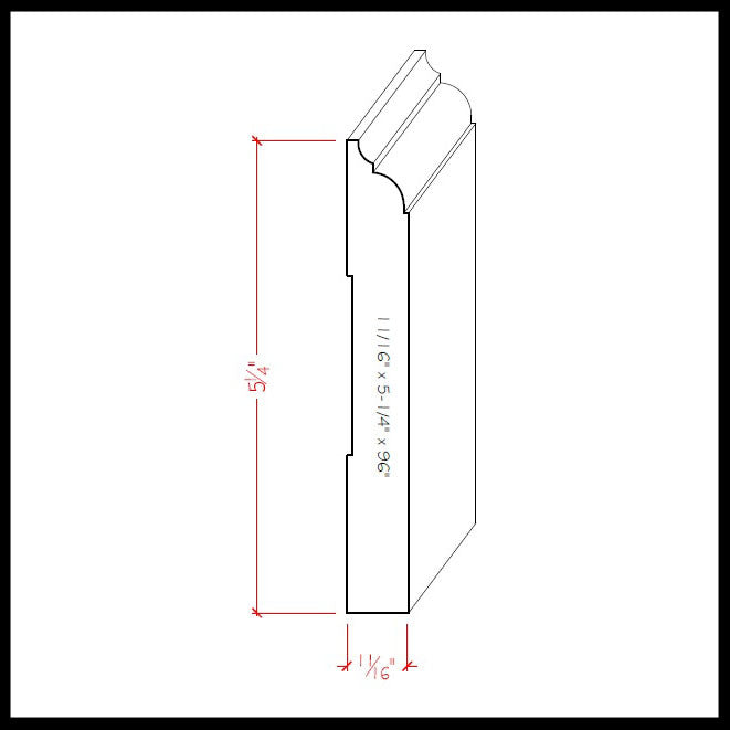 Nose and Cove Baseboard Trim EWBB23 Line Drawing