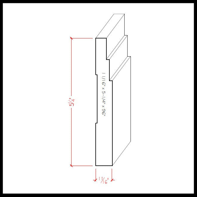 Contemporary Baseboard Trim EWBB29 Line Drawing
