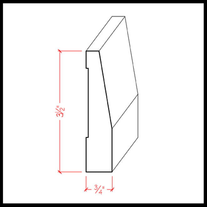 Beveled Baseboard Trim EWBB32 Line Drawing