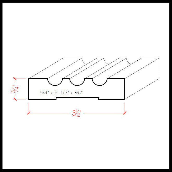 Fluted Casing Trim EWCA46 Line Drawing