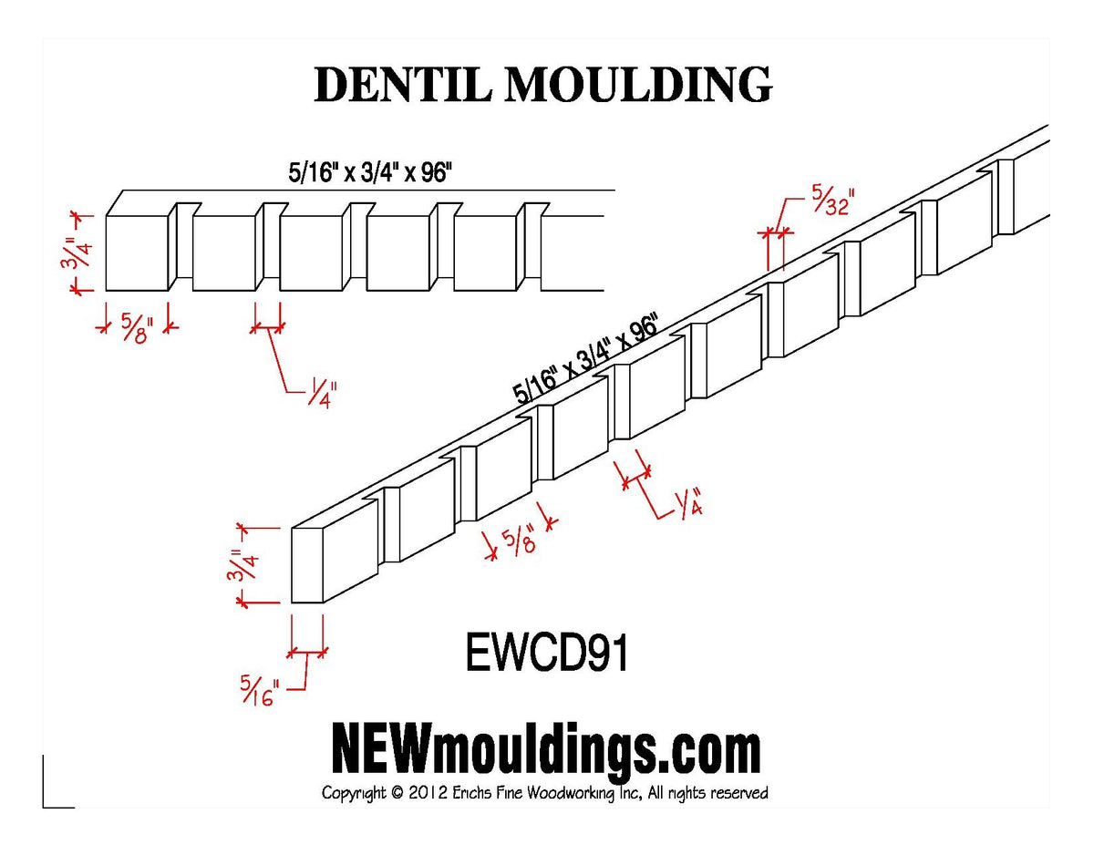 Dentil Molding EWCD91 Line Drawing