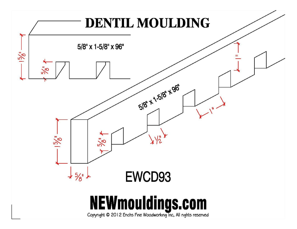 Dentil Molding EWCD93 Line Drawing