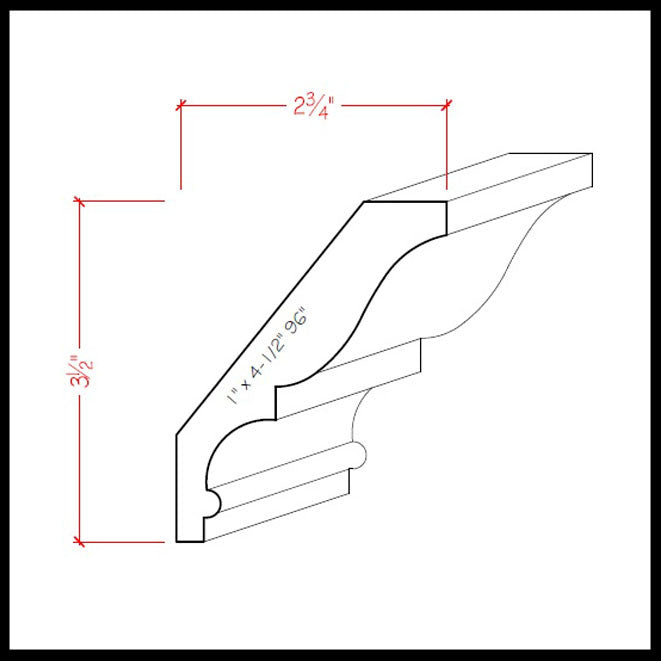 Crown Molding EWCR18 Line Drawing