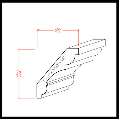 Crown Molding EWCR20 Line Drawing