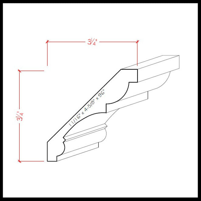 Crown Molding EWCR21 Line Drawing