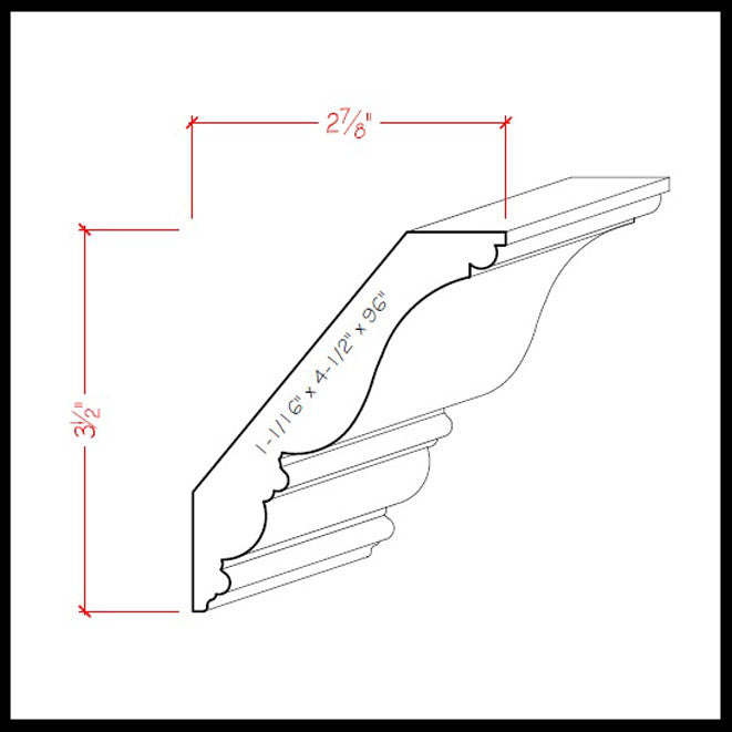 Crown Molding EWCR27 Line Drawing