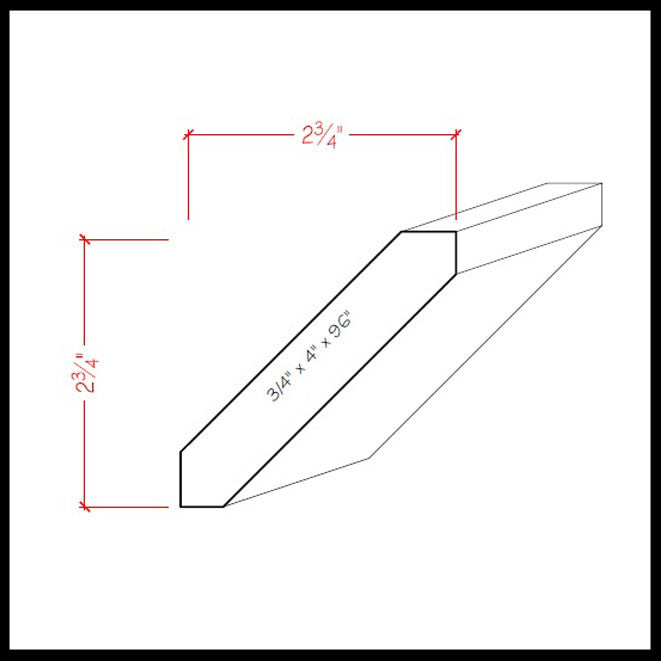 Shaker Crown Molding EWCR38 Line Drawing
