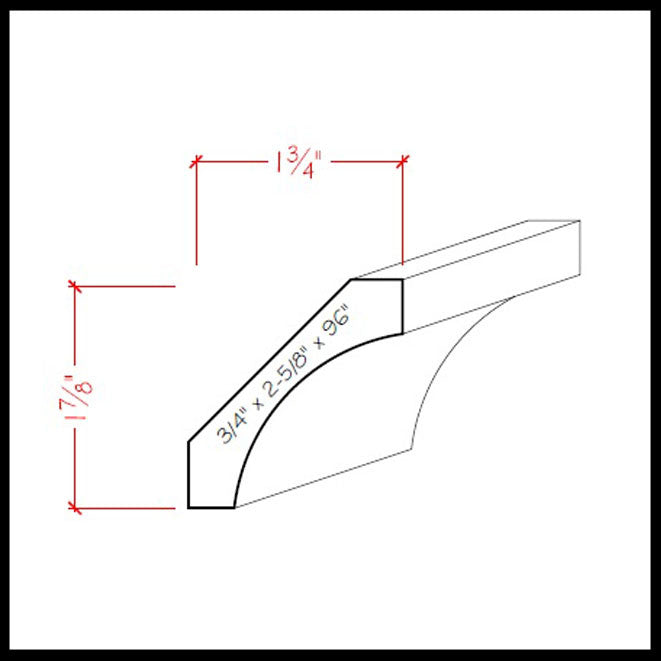 Cove Crown Molding EWCR39 Line Drawing