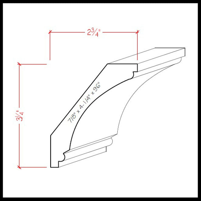 Cove Crown Molding EWCR43 Line Drawing