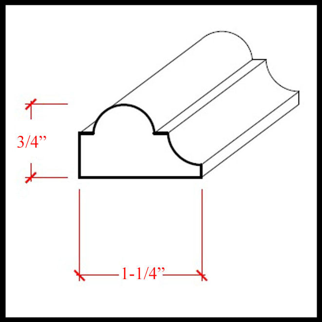 Nose and Cove Molding EWPM23 Line Drawing