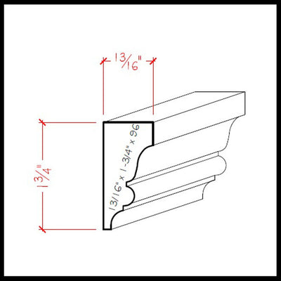 Solid Wood Crown Molding EWSC11 Line Drawing