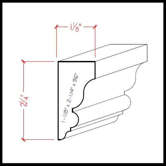 Solid Wood Crown Molding EWSC12 Line Drawing