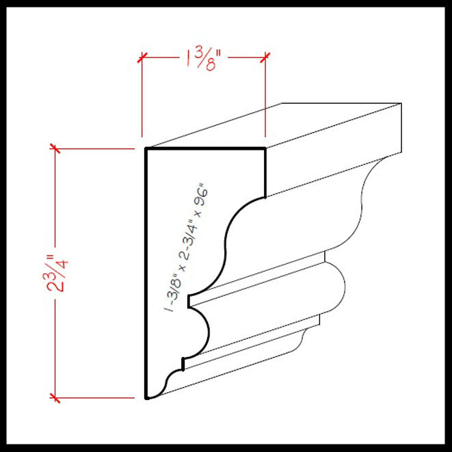 Large Solid Wood Crown Molding EWSC13 Line Drawing