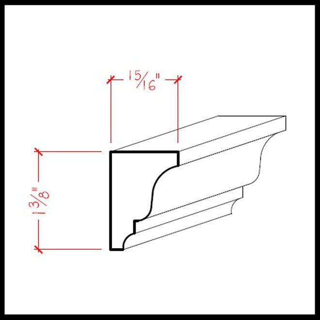 Solid Wood Crown Molding EWSC16 Line Drawing