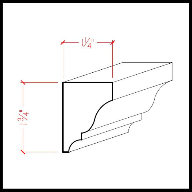 Solid Wood Crown Molding EWSC18 Line Drawing