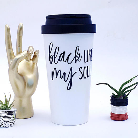 """Black Like My Soul"" Travel Mug"