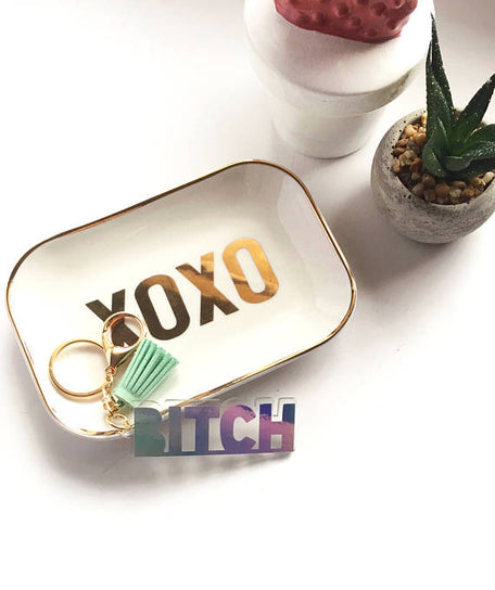 bitch keychain glam university